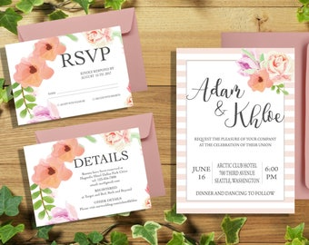 "Watercolor wedding invitation| 4x6"" RSVP Card