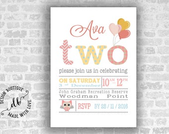 Two Birthday Invitation, 5x7 Invitation Card, Second  Birthday Invitation, Girl Invitation, DIY, Printable, Colorful