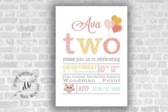 Two Birthday Invitation 5x7 Invitation Card Second Birthday Invitation Girl Invitation Diy Printable Colorful