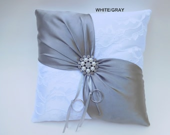 Lavender  and White French Chantilly Lace Ring Pillow Ring Boy Ring Bearer Pillow Handmade in the USA Ring Pillow