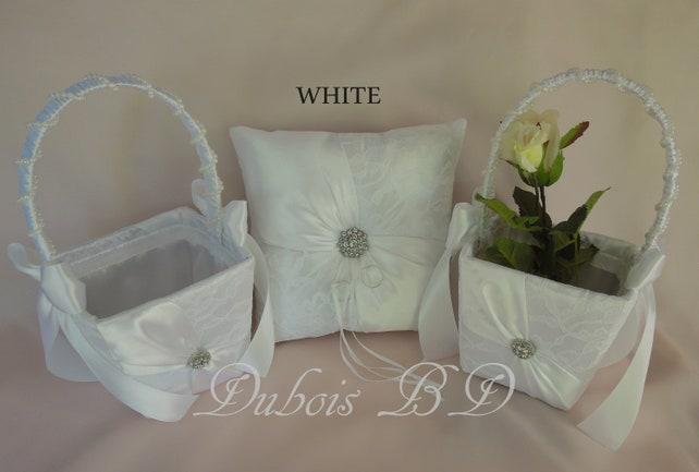 Ring Bearer Pillow And Flower Girl Basket 3 Pcs Set Ivory Or White