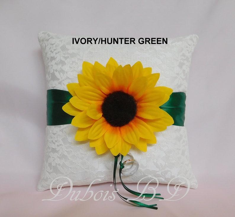 Ring bearer pillow Navy blue ring pillow Fall wedding ring pillow Sunflower ring bearer pillow Sunflower wedding