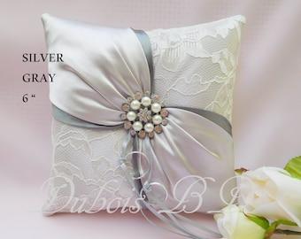 Silver ring pillow, Silver/Gray ring bearer pillow, 6 inches ring pillow, Lace ring bearer pillow, Wedding pillow, Ring bearer pillow