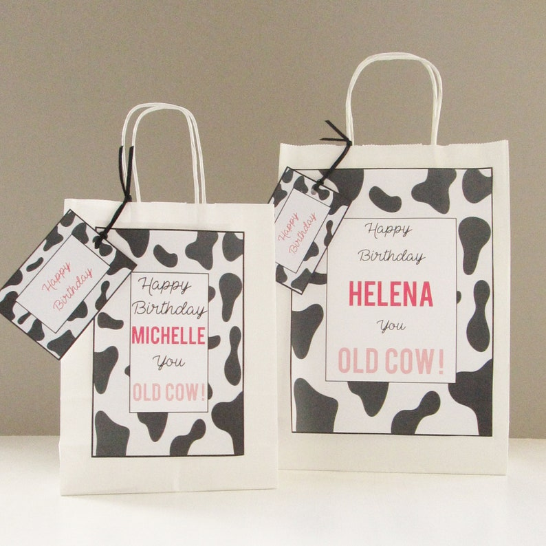 Personalised Birthday Gift Bag Old Cow Design