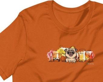 Beer Pug Short-Sleeve Unisex Crew Neck T-Shirt | Craft Beers Alcohol Pugs Dog Dogs | Cute Shirt Tee