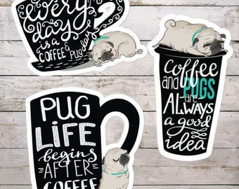 Coffee Pug Stickers | Stickers Adhesives Bubble-free | 3 Kinds 3 Sizes | Scribble Pugs Dog Dogs | Laptop Decals Adhesive | Cute Fun Latte