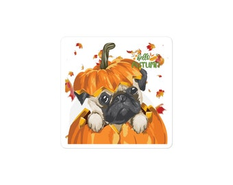 Pug in a Pumpkin | Bubble-free Stickers | Scribble Pugs Fall Autumn Cute Sticker Adhesive for Laptop, Phones