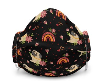 Pugs Floral Rainbow Fall Autumn Premium Face Masks | Scribble Pug Washable Reusable Adjustable Wire Elastic Bands | Polyester Microfiber