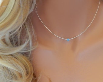 Choker Necklace • Birthstone Necklace • Dainty Gold Necklace • White Opal Choker Rose Gold Silver • Girlfriend Gift • Mothers Gift
