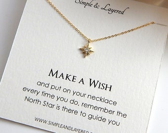 Gift for Her • Dainty Gold Necklace • Simple Everyday Necklace • Silver North Star • Layering Celestial Girlfriend Gift
