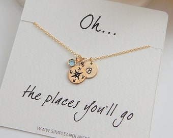 Personalized Compass Charm Necklace • Graduation Gift • Friendship Necklace • Gold Silver Compass • Journey Necklace • Girlfriend Gift