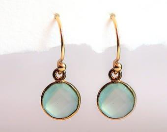 Dangle Earrings • Seafoam Chalcedony Gemstone Earrings • Dangle Crystal • Gold Seafoam Drop • Gift for Her