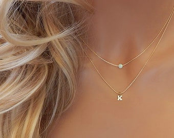Opal Initial Necklace • Birthstone Necklace • Mothers Necklace Personalized • Layered Dainty Gold Necklace • Girlfriend Gift • White Opal
