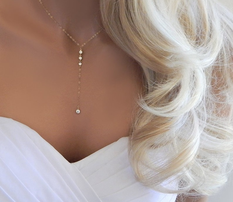Lariat Wedding Necklace for Woman Bridesmaid Thank You Gift image 0