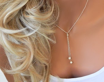 Lariat Pearl Y Necklace Choker •  Bridal Jewelry • Wedding Necklace • Bridesmaid Jewelry • Pearl Lariat • Beaded Pearl Y Necklace