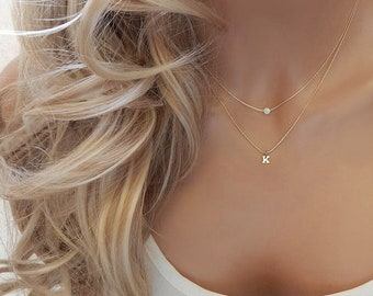 Opal Necklace, Letter Necklace, Personalized Gift for Mom, Bridesmaid Gift, Gold Initial Necklace, Layering Birthstone Necklace for Women