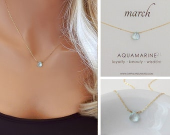 Aquamarine Necklace • March Birthstone • Aquamarine Gemstone • Dainty Gold Layering Jewelry • Girlfriend Gift for Her