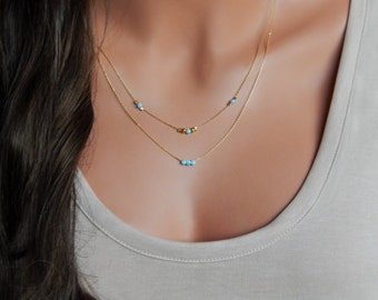 Layered Opal Necklace • Dainty Gold Necklace • Dainty Opal Jewelry • Gift for Girlfriend Sister Her Mom  • Gifts under 50