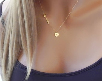 Initial Necklace, Arrow Pendant in Gold or Silver, Custom Monogram Personalized, Gift for Girlfriend [CUC9] [18-229]