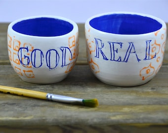 Couple decorated ceramic bowls