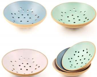 MADE TO ORDER - Ceramic Berry Bowl, Rustic, Pastel, Blue, Green, Pink