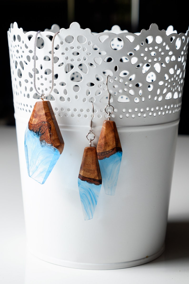 Ocean inspired resin and wood jewelry set Special gift for her Reclaimed wood pendant and earrings