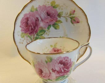 Royal Albert American Beauty Crown China Tea Cup and Saucer ca1935