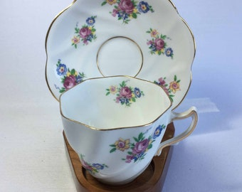 Rosina 5024 with Pink and Blue Flowers Bone China Flat Tea Cup and Saucer - Made in England