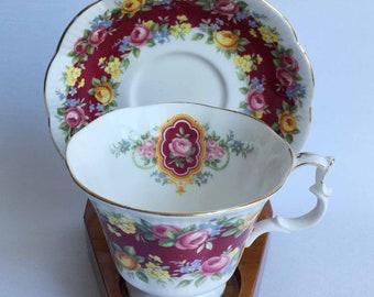 Royal Albert ELEGANCE Garland Series Bone China Tea Cup and Saucer