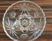 Vintage Anchor Hocking Prescut Pattern Clear Cut Glass Star of David Small Bowls, 2 bowls in set