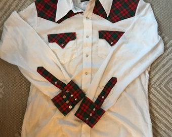 Vintage Men's, Plaid, Country Western, Button Down, Shirt