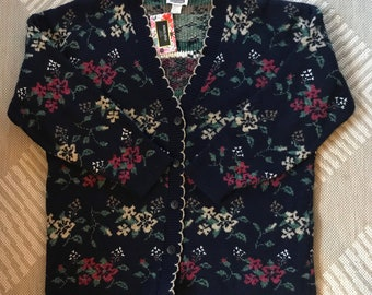 Vintage Cardigan Sweater, Navy Blue with Pink, Cream and Green Flowers, Size Women's Large, Oversized
