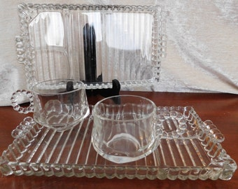 Hazel Atlas Clear Glass Orchard Crystal Snack Plates and Cups, 2 cups and 2 plates