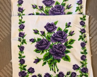 Vintage Bath Towels With Purple and Green Flower Design