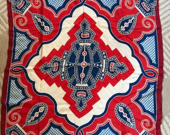 Vintage Bob Maki, Silk, Red, White, Blue Scarf