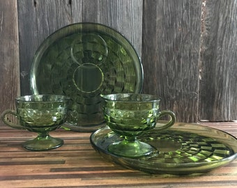 Vintage Avocado Green Snack Sets, Whitehall Colony Glass Cube Design with Stemmed Punch Cups and Plates, Set of 2 cups and 2 plates.