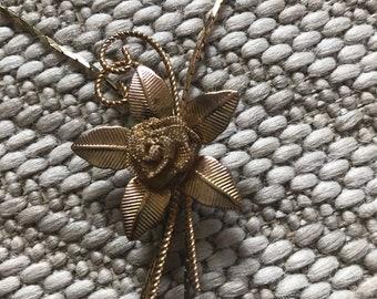 Vintage Gold Toned Flower Bolo Necklace