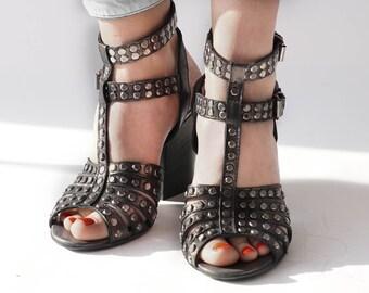Summer Sandals, Leather Sandals, Designer Shoes, Italian Shoes, Heeled Sandals, Evening Shoes, Black Sandals, High Heel Sandals,Boho Sandals