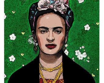 "Frida, Digital Portrait, 8"" X 10"". Hand-signed by artist."