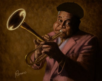 "Dizzy Gillespie, Portrait Print, 8"" X 10"". Hand-signed by artist."