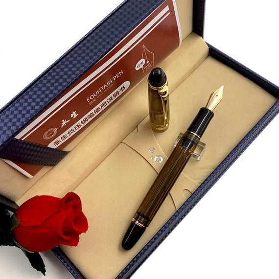 New Color Wing Sung 699 Blue Vaccum Filling Fountain Pen Golden Clip EF//F//M Nib