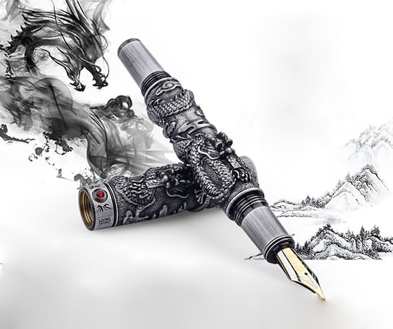 Jinhao Two Dragon Playing the Pearl Fountain Pen Medium Nib Black Color