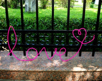 Big Pink wall decor, wire words, romantic wall art, metal decor, housewares, love decor, of love, wire word art, for the home, wall murals
