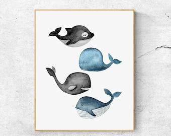 Whales Print 02, Ocean Art Print, Watercolour Whale Artwork, Grey Whale Print, Watercolor Whale Art, Nursery Art, Baby Animal Art