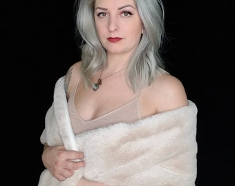 Faux fur scarf shawl wrap. Faux rabbit fur. Rockabilly cover up, wedding bridesmaids shawl.