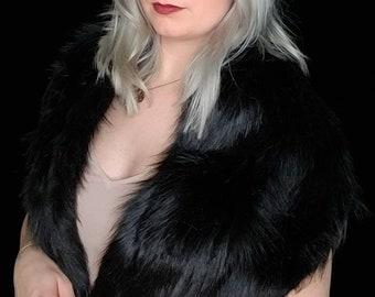 Faux fur scarf shawl wrap. Faux Fox fur. Rockabilly cover up, wedding bridesmaids shawl.