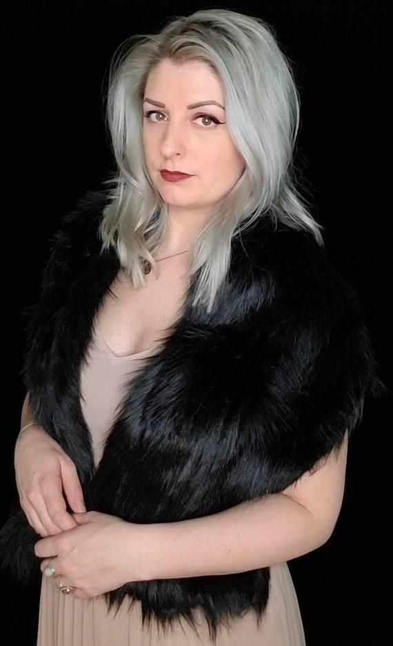 FLEECE LINING - Faux fur scarf shawl wrap. Faux Fox fur. Rockabilly cover up, wedding bridesmaids shawl.