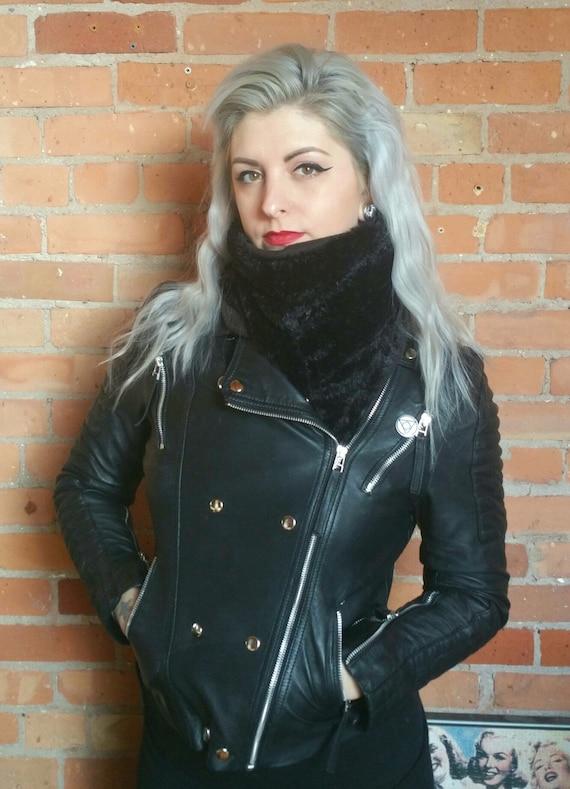 FLEECE LINING - Faux fur, faux mink scarf. Rockabilly black mink scarf. Faux fur scarf faux fur shawl faux fur wrap