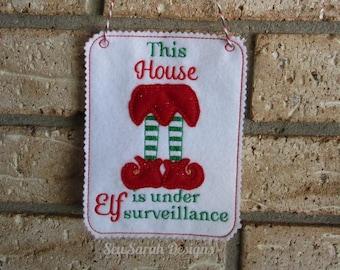 ITH house elf surveillance door hanger (5x7) machine embroidery Instant digital download