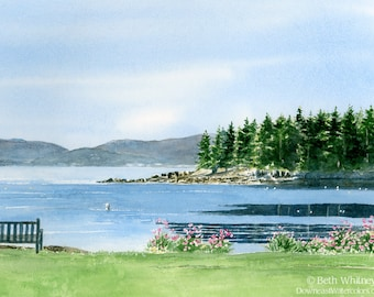 Acadia Morning, Coastal Maine Panoramic Art Print - Local Maine Gifts - Downeast Maine Art -  Peaceful Watercolor - Blue Bathroom Decor